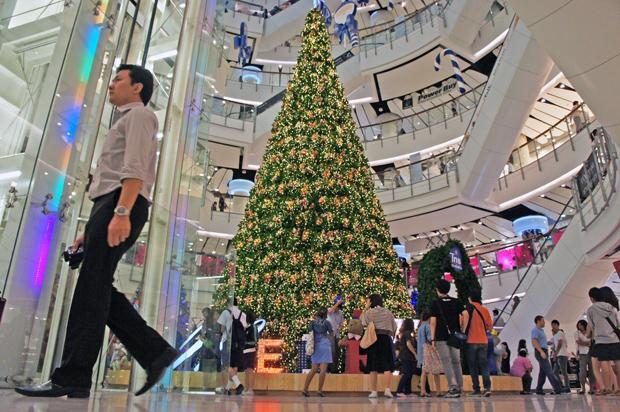 Arbol de navidad en un centro comercial